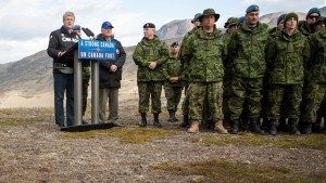 Prime Minister Stephen Harper, joined by Rob Nicholson, Minister of National Defence, and Brigadier General Greg Loos, addresses members of the Canadian Armed Forces after participating in Operation NANOOK during the ninth annual tour of Canada's northern territories (Photo credit: Office of PM)