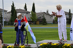 Florence Storch received Silver in the Javelin at 101 years of age. Photo taken by volunteer photographer Chuck Tweedy.