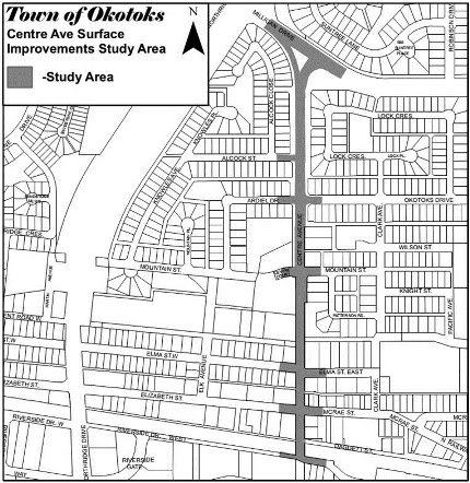 Centre Ave improvements map - Okotoks