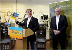 Premier Prentice and Minister Olson announced the Rural Economic Development Action Plan at MacKay's Ice Cream factory in Cochrane on October 28, 2014.