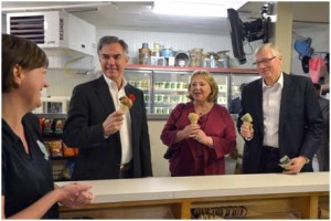 Premier Prentice, his wife Karen, and Minister Olson enjoyed some ice cream at MacKay's Ice Cream in Cochrane after the release of the Rural Economic Development Action Plan on October 28, 2104. (L-R) Megan Tayfel, MacKay's Ice Cream; Jim Prentice, Premier; Karen Prentice; and Verlyn Olson, Minister of Agriculture and Rural Development.