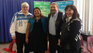 R-L: Associate Minister David Dorward, Koren Lightening Earle, Merle White President of the Association of Friendship Centres Association, and Grace Auger. Koren and Grace sit on the First Nation Women's Economic Security Council.