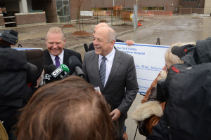 Doug Ford (left) and Humber River Hospital President & CEO Rueben Devlin speak to the media following the cheque presentations (CNW Group/Humber River Regional Hospital)