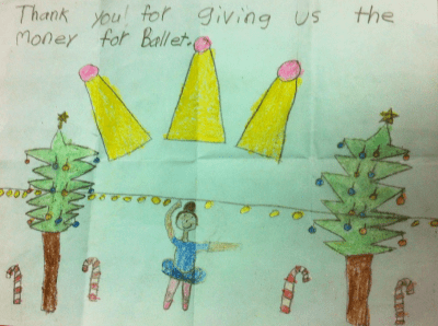 A child's thank you letter to KidSport for helping her enroll in ballet classes