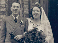 Photo caption 1: Len and May Bridges on their wedding day in Chingford, England, on October 18, 1949