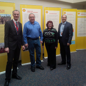 Value adding and innovation in the Heartland showcased to government officials (L-R) Michael Frigge, Upgrader General Manager, Shell Scotford Site;  Honourable Frank Oberle, Minister of Alberta Energy; Jacquie Fenske, MLA Fort Saskatchewan/Vegreville; Additional Shell representative