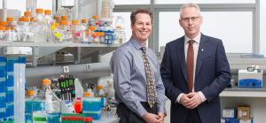Lee Jackson, left, is scientific director for Advancing Canadian Wastewater Assets, and professor in the Faculty of Science at the University of Calgary. Ed McCauley is vice-president (research) at the University of Calgary. Photo by Riley Brandt, University of Calgary