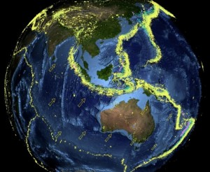 Belts of earthquakes (yellow) surround the Indo-Australian plate. Image credit: Mike Sandiford