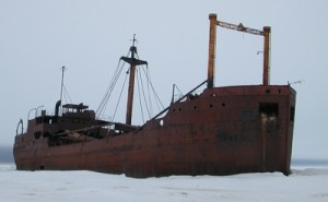 The SS Ithaka, a local landmark, was a small supply ship that ran aground near Churchill in 1960. Photo courtesy Brent Else