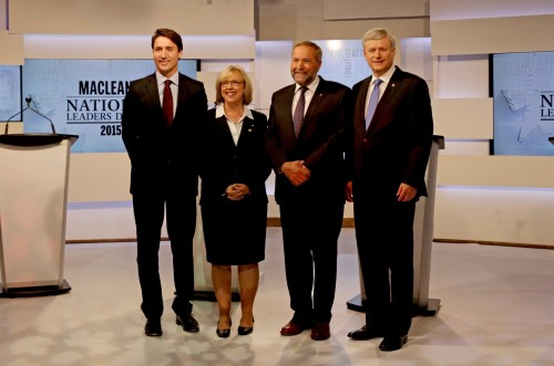 Justin Trudeau, leader of the Liberal Party of Canada; Elizabeth May, leader of the Green Party of Canada; Thomas Mulcair, leader of the New Democratic Party of Canada; and Stephen Harper, leader of the Conservative Party of Canada took part in the Maclean's National Leaders Debate at the City and OMNI Television studio in Toronto last night (CNW Group/Maclean's)
