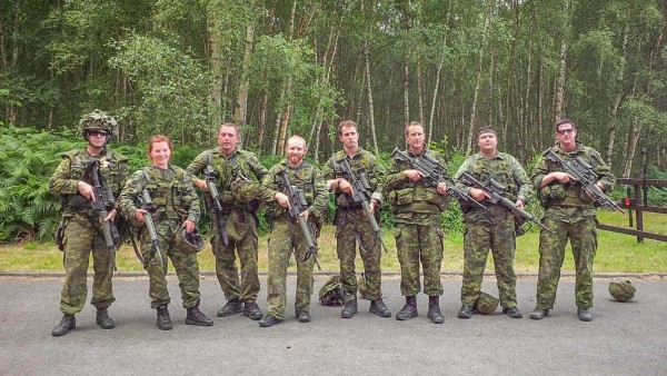 Sergeant Tatyana Danylyshyn, second from left, with Canadian teammates at the annual Bisley shooting competition. This event took place at the Primary Training Centre Pirbright in Bisley, United Kingdom, from June 21 to July 1, 2015