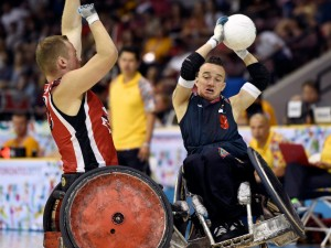 Canada's Zak Madell, left, rams Colombia's Cristian Amaya Fajardo during mixed gender wheelchair rugby at the 2015 Parapan Am Games in Toronto on Sunday, August 9, 2015. (Facebook)