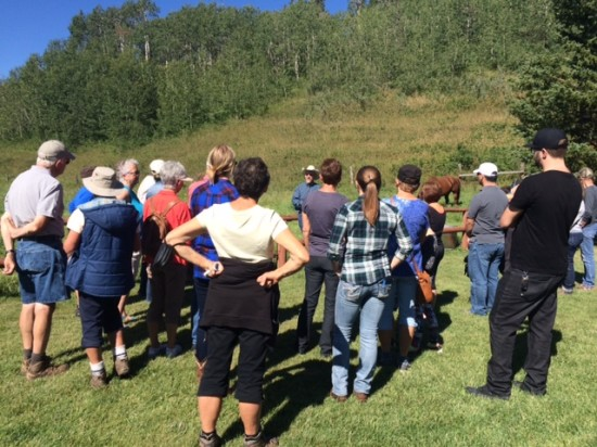 OH Ranch Manager Ken Pigeon speaks to guests about land management
