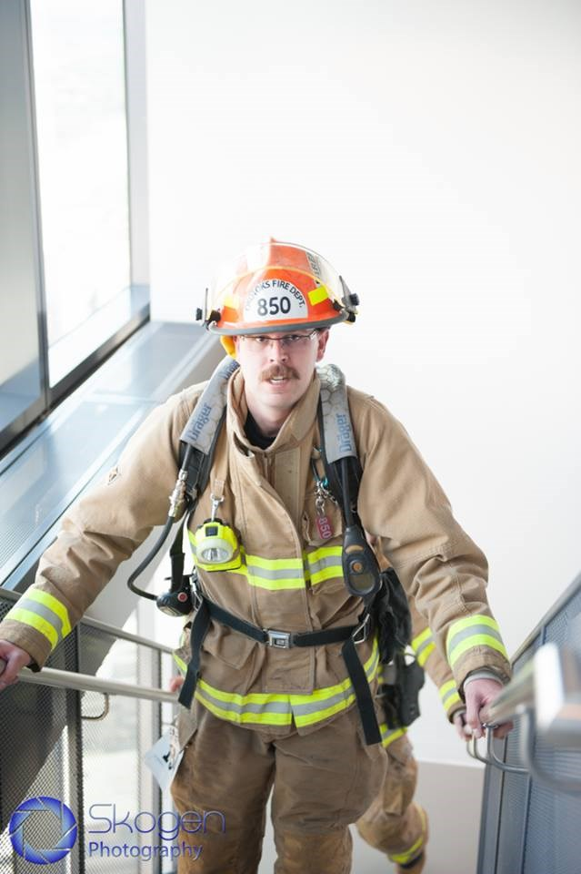 FSD's Ryan Kaiser climbing the Bow Tower during last year's Firefighter Stairclimb Challenge