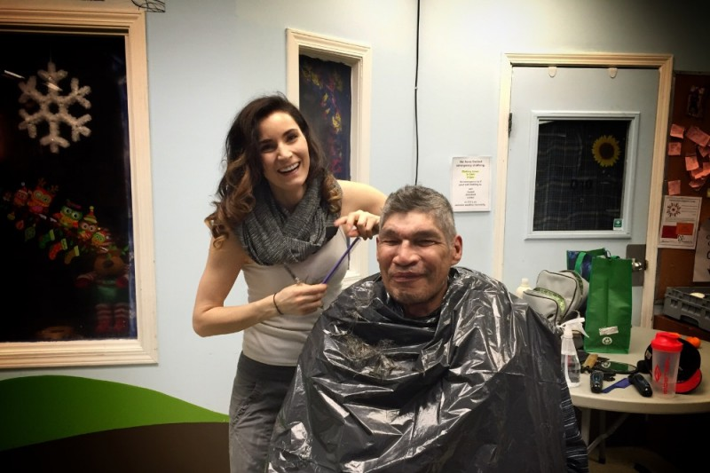 Haircuts for the Homeless - Misty and client