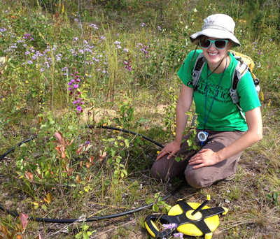 MSc student Jennine Pederson transplanted some Northern Blazing Stars as part of a research project to see whether humans should intervene in assisting plants adapt to climate change.