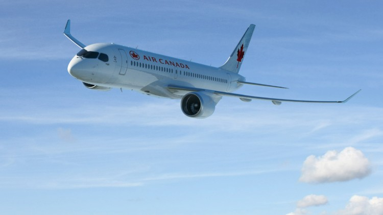 Bombardier CS300 aircraft in Air Canada colours