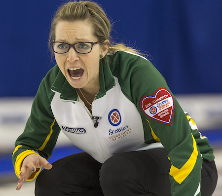 Northern Ontario skip Krista McCarville calls instructions to her sweepers during the gold-medal game. (Photo, Curling Canada/Andrew Klaver