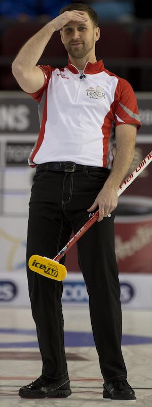 Newfoundland/Labrador's Brad Gushue shows his frustration. (Photo, Curling Canada/Michael Burns)