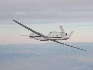 NASA's Global Hawk is part of a mission to track storms developing in the Pacific Ocean to better predict severe West Coast weather. Credits: NASA Photo / Carla Thomas