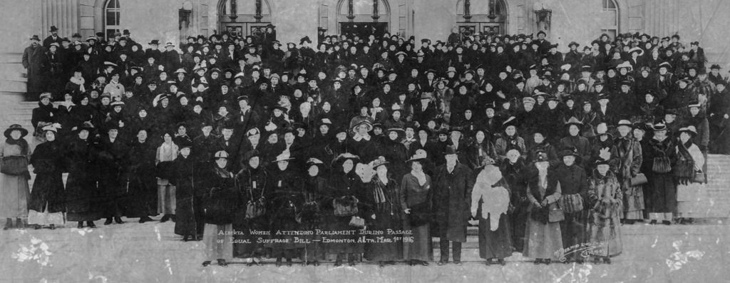 Alberta Women attending parliament during passage of Equal Suffrage Bill - Mar 1, 1916