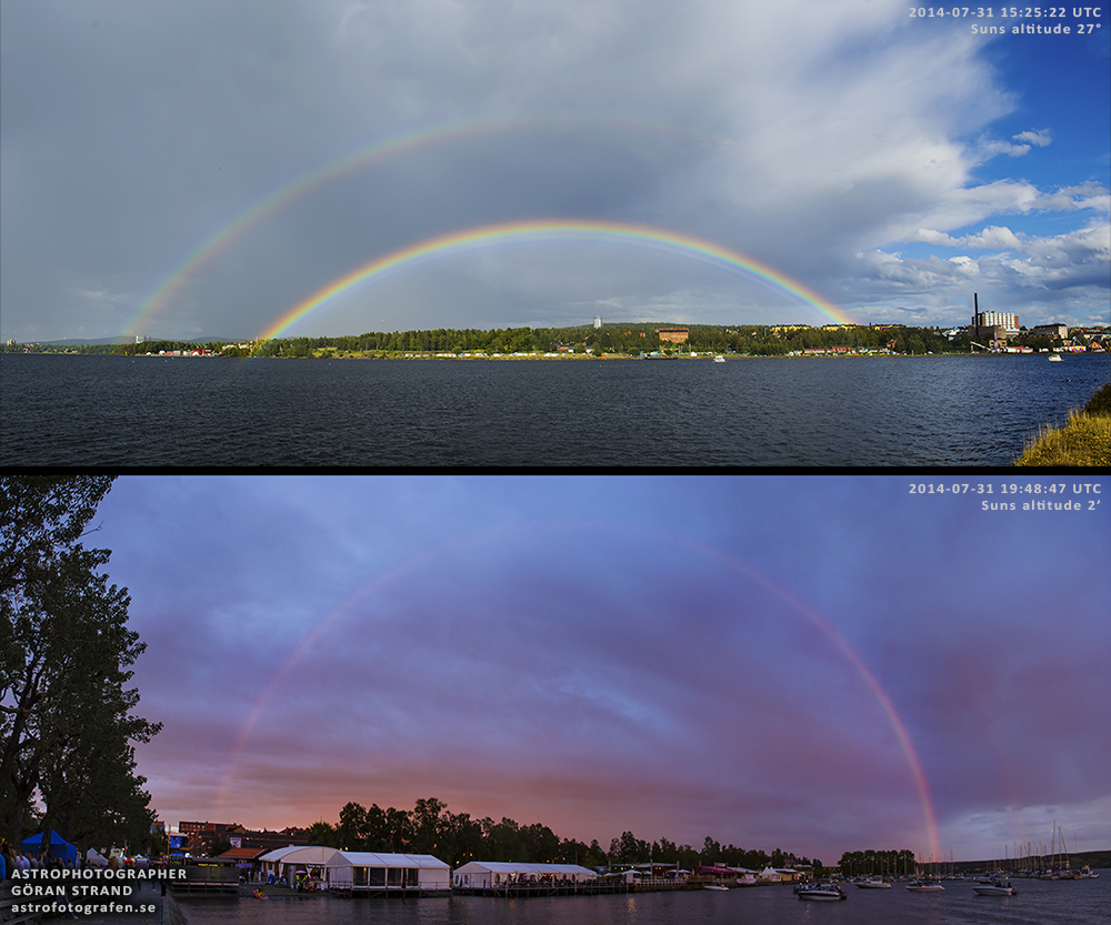Göran Strand of Sweden captured this double rainbow in 2014 … and, shortly afterwards, caught it again as the sun sank lower, and it became a double red rainbow. Used with permission. Visit Göran's astrophotography website or his Facebook page.