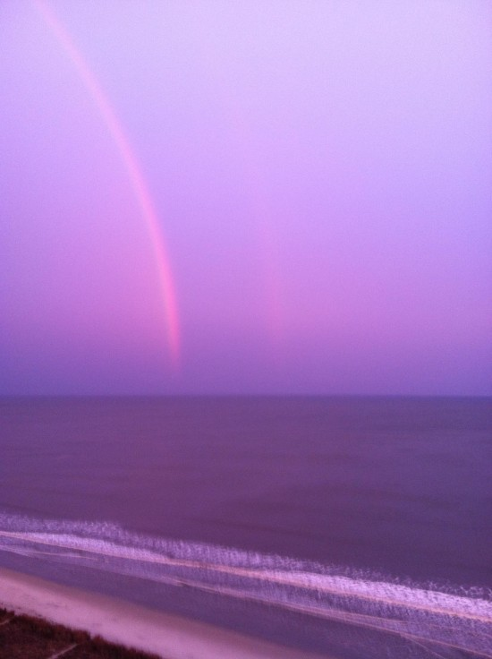 Frances Pelletier caught this double red rainbow on February 9, 2016 from Myrtle Beach, South Carolina.