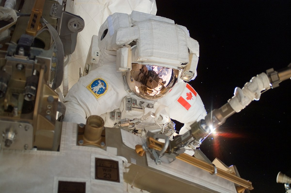 Canadian astronaut on space walk