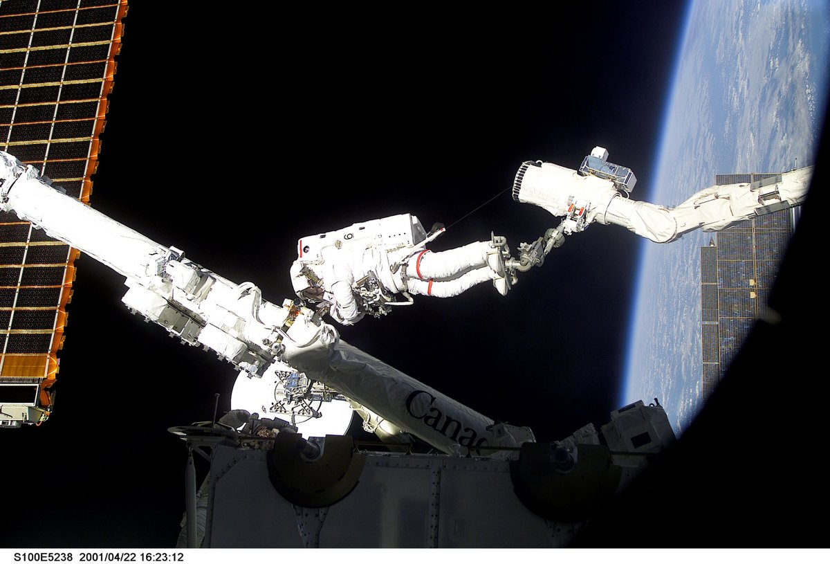 Canadian astronaut with Canadarm