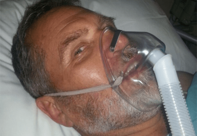 Hennie Muller in hospital on the day of his near drowning and heart attack.