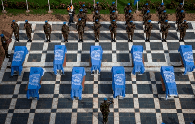 The UN Mission in Mali honors nine Nigerien peacekeepers killed on 3 October 2014. UN Photo/Marco Dormino