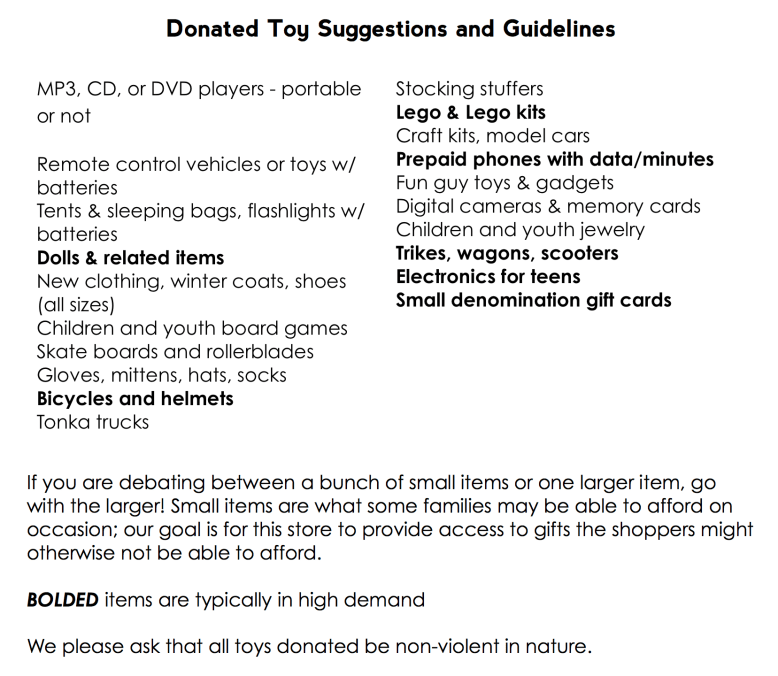 Christmas with Dignity.Donated Toy suggestions and guidelines.