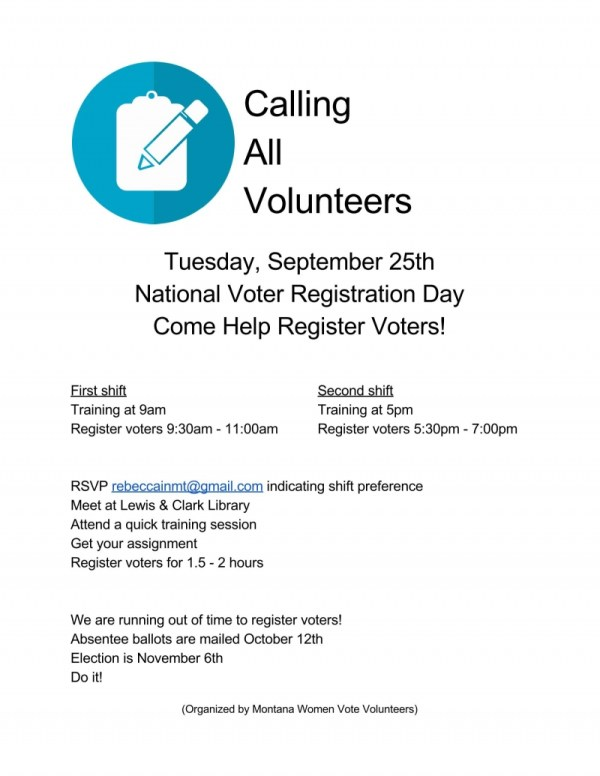 National Voter Registration Day in Helena 09/25/2018 ...