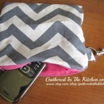 Chevron Clutch with Pink Lining Pink Zipper and Fashion Metal Key Hook