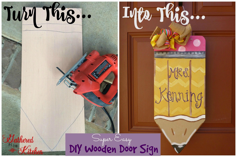 wooden pencil door wreath tutorial