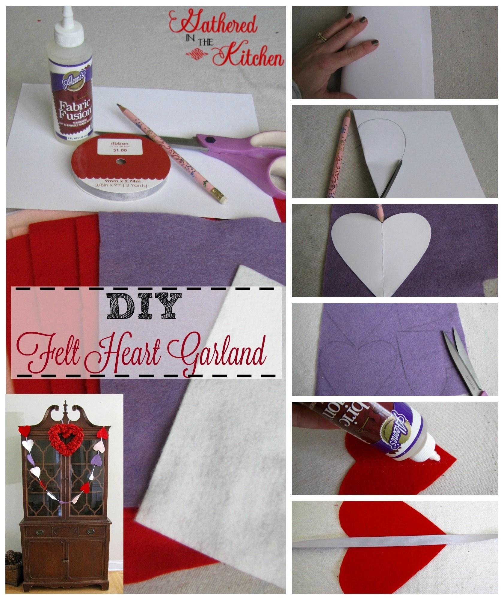 diy felt heart garland