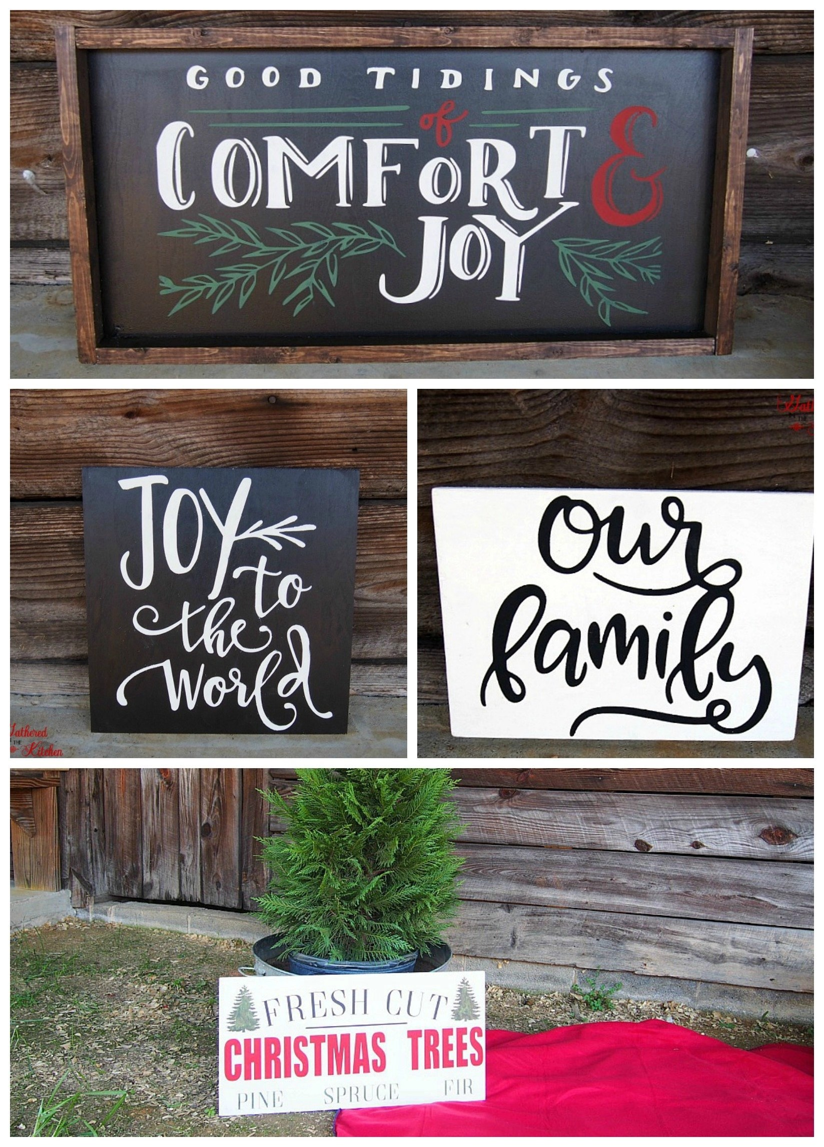 Diy Christmas Themed Winter Wooden Signs Gathered In The Kitchen