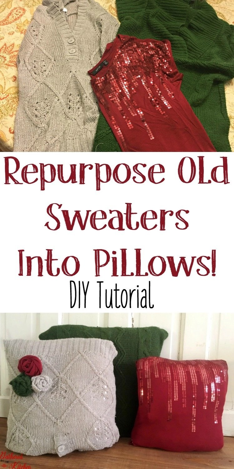 Repurpose old sweaters into throw pillows
