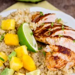 Blackened Chicken over Quinoa Salad Pineapple Mango and Avocado