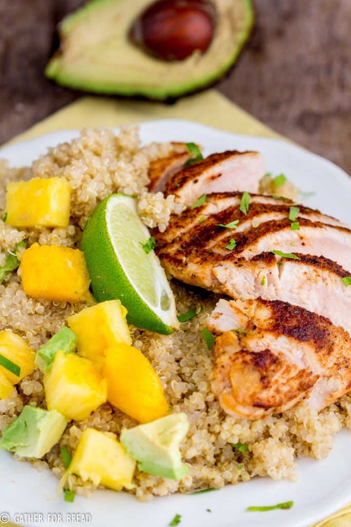Blackened Chicken Quinoa Salad Pineapple Mango Avocado -  Quinoa, skillet cooked chicken freshly chopped mango, avocado and pineapple with homemade vinaigrette. This healthy nutritious meal leaves you full and it's so good for you!