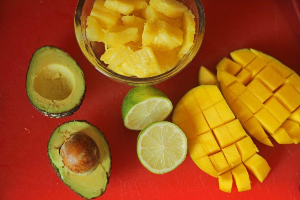Mango, pineapple and avocado