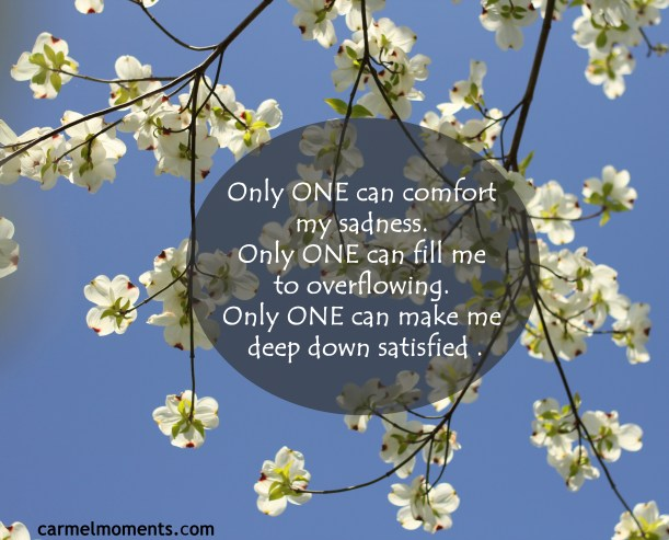 Only ONE can comfort my sadness. Only ONE can fill me to overflowing. Only ONE can make me deep down satisfied .