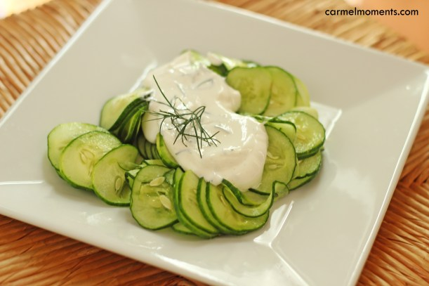 Cucumber salad with Greek yogurt gatherforbread.com