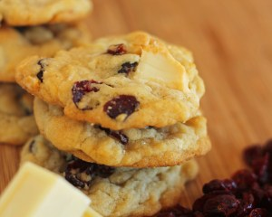 Cranberry white Chocolate Chunk Cookies | carmelmoments.com