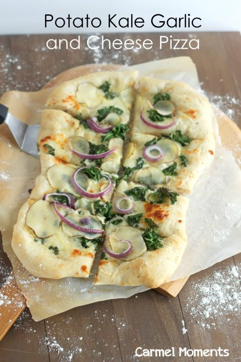 Freshly made pizza topped with thinly sliced potato, kale, red onion, a hint of garlic and delicious cheeses. One of the best pizza combo toppings ever! gatherforbread.com