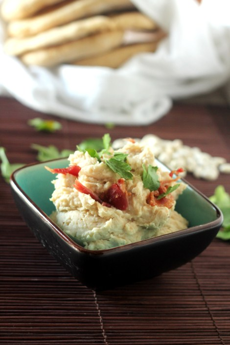 White Bean Dip with Bacon - Super simple healthy dip mixed up in just minutes! | gatherforbread.com