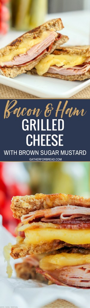 Bacon Ham Grilled Cheese Brown Sugar Mustard Sauce - Delicious gooey grilled cheese sandwiches stuffed with bacon, ham and cheese. Grilled with a warm brown sugar mustard sauce.#sandwiches #bacon #dinner #lunch #grilledcheese