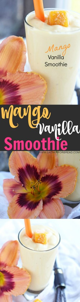 Mango Vanilla Smoothie - Healthy drink, smoothie made with Greek yogurt, vanilla and frozen mango. Only 4 ingredients! Delicious protein for breakfast or snack.