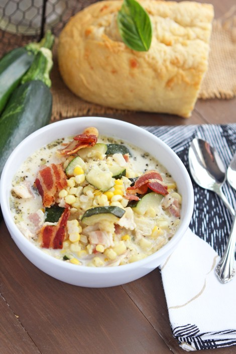 Creamy Zucchini Bacon Corn Soup