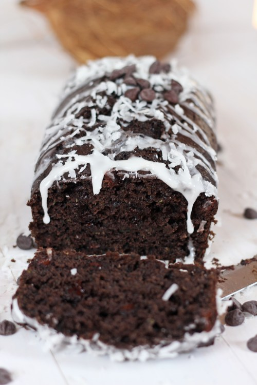 Dark Chocolate Zucchini Bread with Coconut Glaze